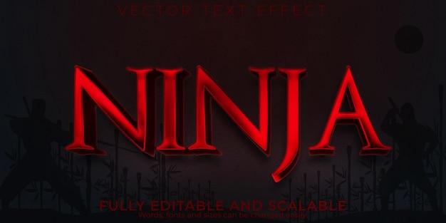 Kungfu editável com efeito de texto de samurai ninja e estilo de texto guerreiro