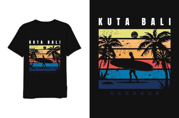 Kuta bali, mulher surfando, design de camisetas.