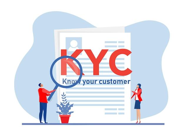 Kyc ou conheça seu cliente com empresa verificando a identidade