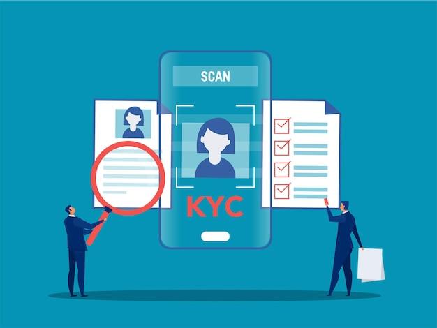 Kyc ou conheça seu cliente com negócio verificando a identidade do conceito de seus clientes nos futuros parceiros através de uma lupa