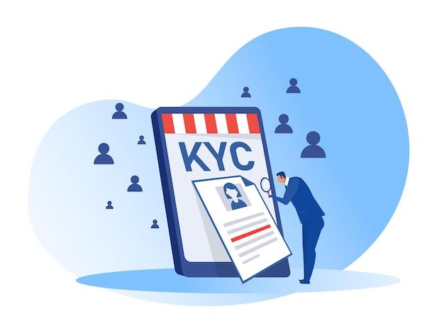 Kyc ou conheça seu cliente com negócios verificando a identidade de seus clientes. ilustrador de conceitos