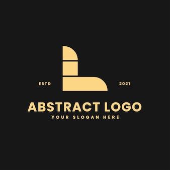 L carta luxuoso bloco geométrico dourado conceito logotipo vetor ícone ilustração