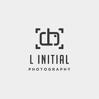 L elemento de ícone de design de vetor de modelo de logotipo de fotografia inicial