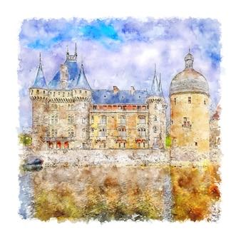 La clayette castle france. esboço em aquarela.