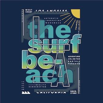 La the surf beach tipografia design para impressão gráfica de camisetas