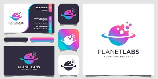 Lab planet logo designs template