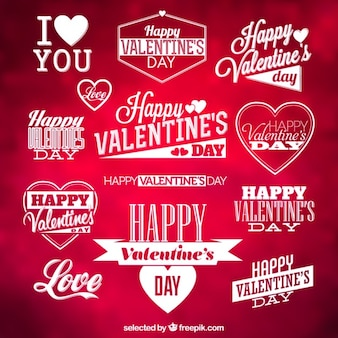 Labels valentines tipográficas