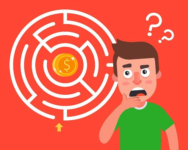 Laberine com uma moeda no centro. obstáculos no caminho para o sucesso financeiro.