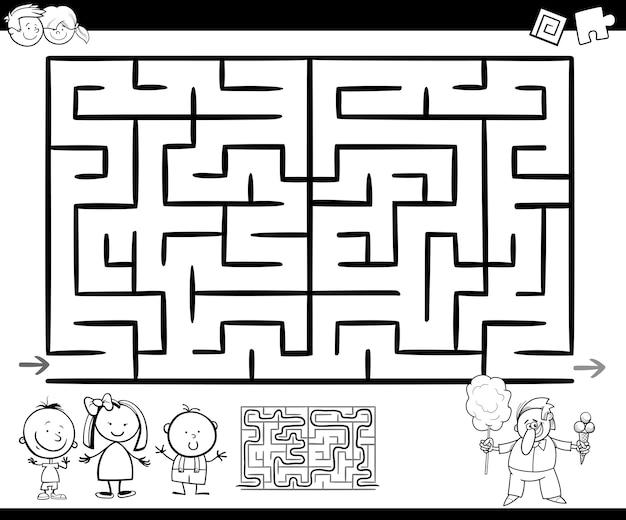 Laberinto ou laberinto jogo colorir página