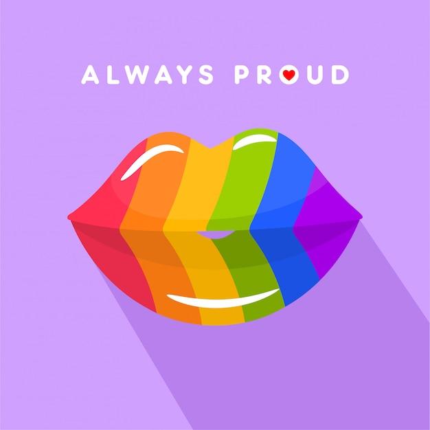Lábios beijam a silhueta nas cores da bandeira lgbt do arco-íris