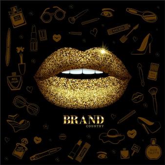 Lábios brilhantes brilhantes e ícones da moda de fundo itens de beleza e bem-estar