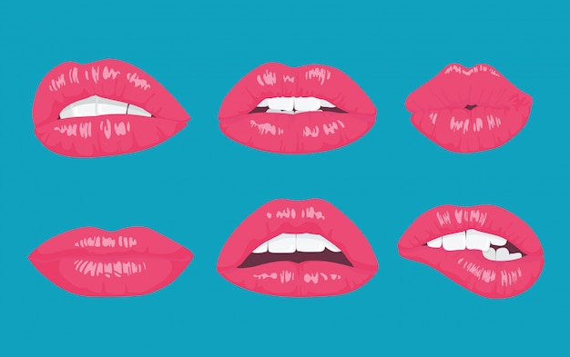 Lábios brilhantes de estilo pop art