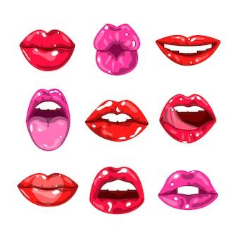 Lábios coloridos brilhantes femininos