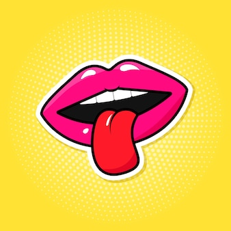 Lábios coloridos e língua em estilo retro pop art.
