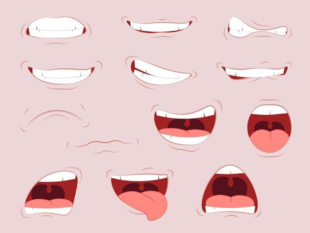 Lábios com emoções diversas.