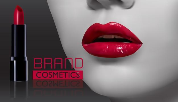 Lábios de mulher com batom vermelho no preto