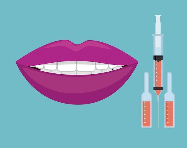 Lábios de mulher com injeções de botox