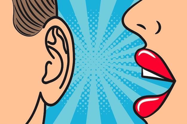 Lábios de mulher sussurrando no ouvido do homem com balão de fala ilustração de quadrinhos estilo pop art