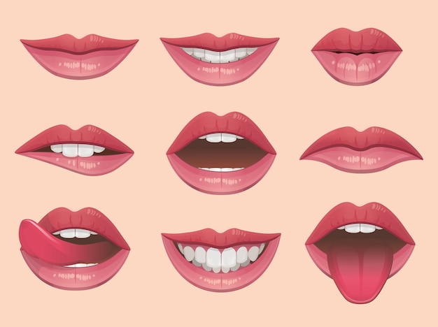 Lábios definir ilustração vetorial.