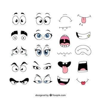 Lábios e olhos com diferentes expressões