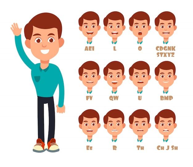 Lábios falantes sincronizam animação. desenhos animados falando boca e retrato de menino isolado