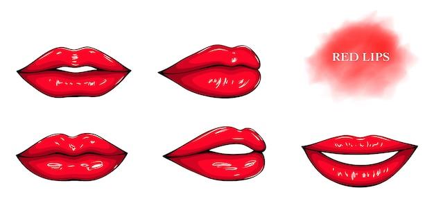 Lábios femininos brilhantes vermelhos