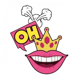 Lábios femininos com ícone isolado de bolha do discurso