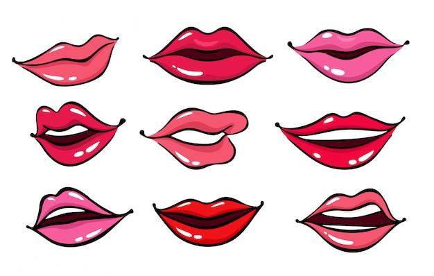 Lábios femininos em quadrinhos