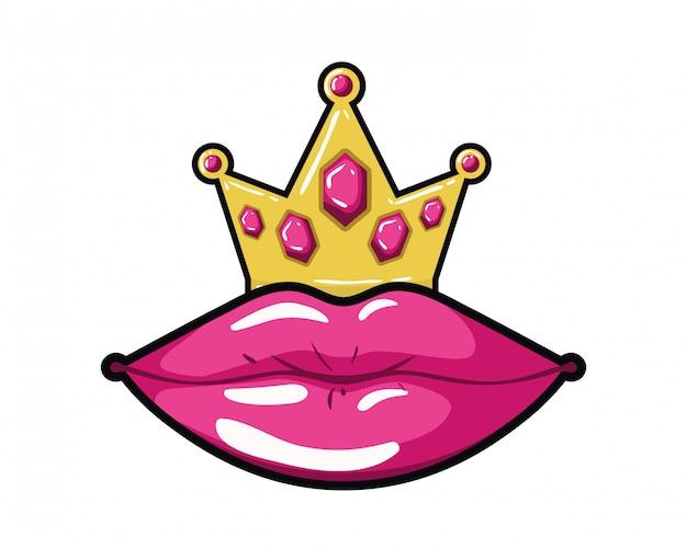 Lábios femininos estilo pop art ícone isolado