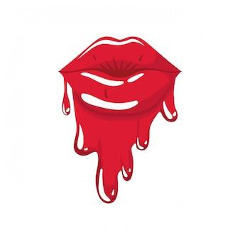 Lábios femininos pingando ícone isolado
