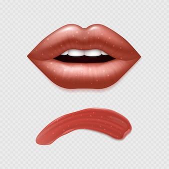 Lábios femininos realistas de vetor e ilustração de batom