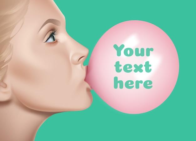 Lábios femininos segurando uma bolha rosa brilhante de goma de mascar sobre fundo verde com espaço para texto