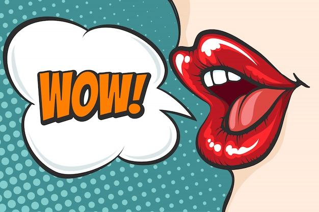 Lábios pop art com bolha de wow