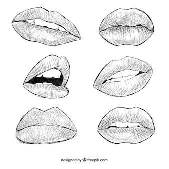 Lábios realistas desenhadas mão