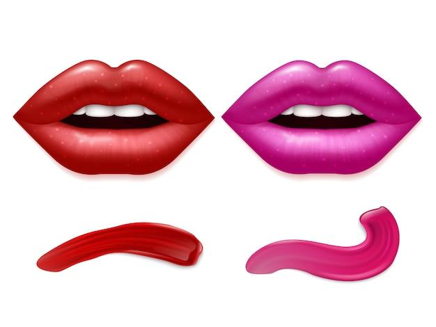 Lábios realistas e manchas de batom no fundo branco