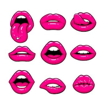 Lábios rosados, uma coleção de diferentes formas. ilustração vetorial
