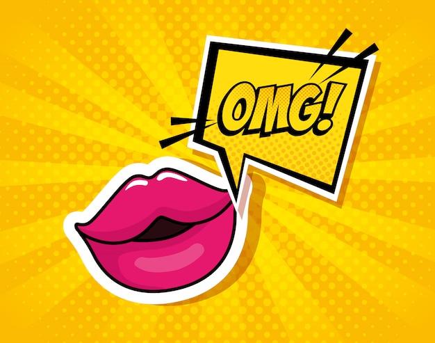 Lábios sensuais com expressão omg no estilo de pop art de bolha do discurso