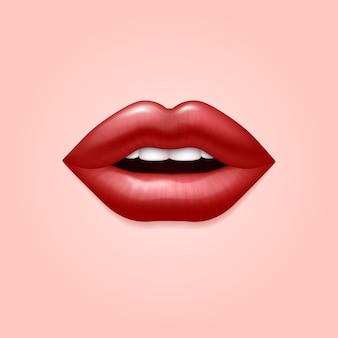 Lábios sexuais sedutoras de glamour mulher vermelha. ilustração 3d realista. lábios vermelhos de mulher, sedutor