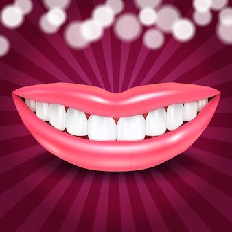 Lábios sorrindo com luzes de discoteca