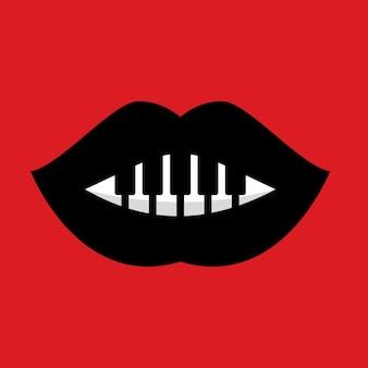 Lábios vermelhos com logotipo de combinações de música de piano