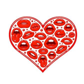 Lábios vermelhos em forma de coração. ilustração vetorial