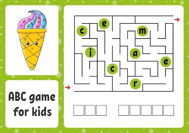 Labirinto abc para crianças labirinto retangular