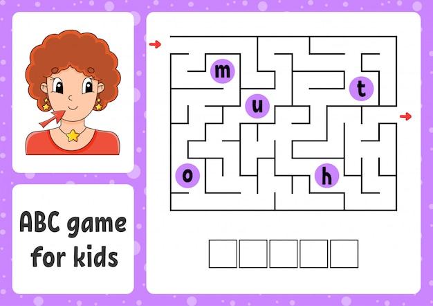 Labirinto abc para crianças. responda a boca. labirinto de retângulo. planilha de atividades.