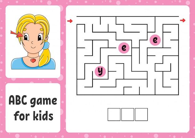 Labirinto abc para crianças. responda olho. labirinto de retângulo. planilha de atividades.