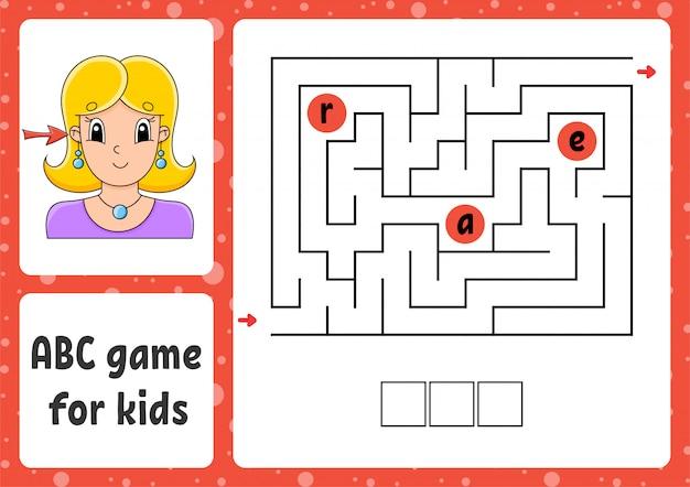 Labirinto abc para crianças. responda ouvido. labirinto de retângulo. planilha de atividades.