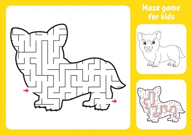 Labirinto abstrato. adorável corgi. jogo para crianças. quebra-cabeça para crianças.