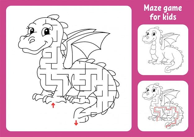 Labirinto abstrato. dragão de conto de fadas. jogo para crianças. quebra-cabeça para crianças.