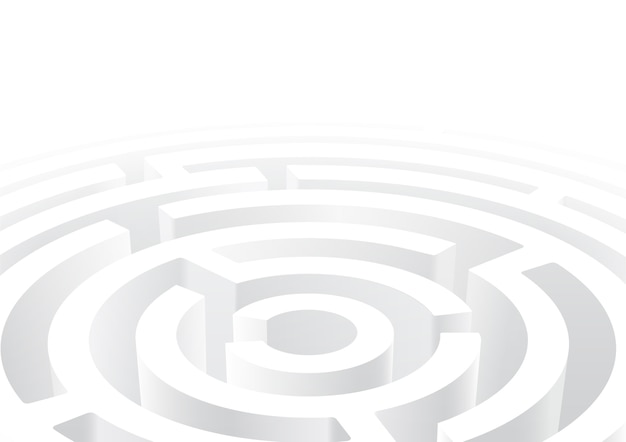 Labirinto circular branco fundo de perspectiva 3d