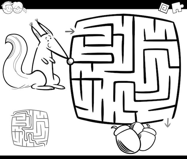 Labirinto com esquilo colorir página