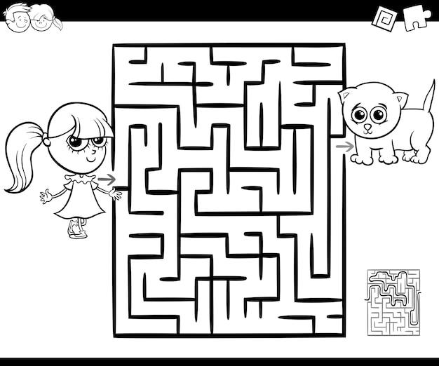 Labirinto com menina e gato para colorir